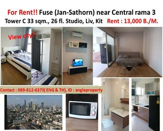 FOR RENT Condo FUSE (Chan-Sathorn) Near Central rama 3 (Fully furnish!!!)